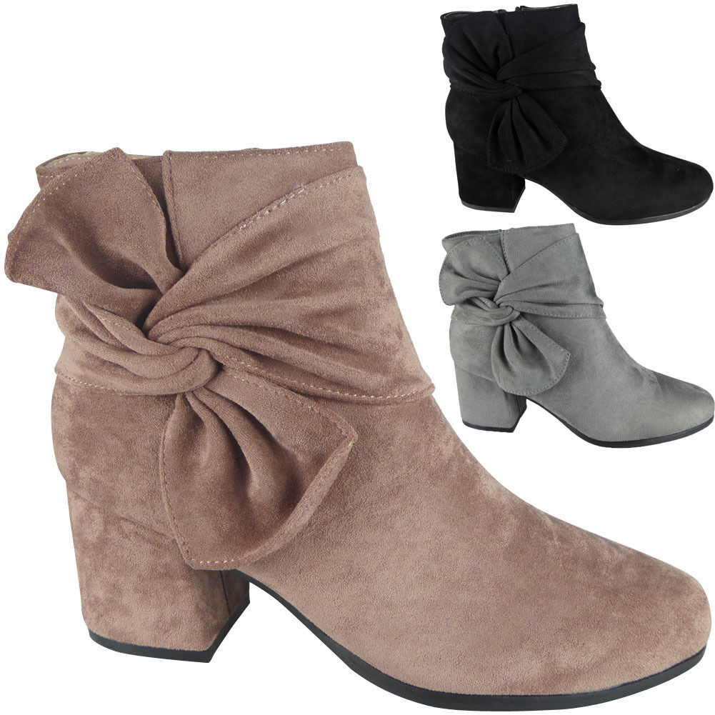 4c8476accca5 Details about New Womens Ladies Faux Suede Zip Low Cuban Heel Work Ankle  Bow Boots Shoes Size