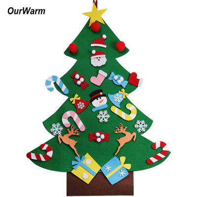 DIY Craft Felt Christmas Tree with Ornaments Kids Xmas Gifts Wall Hanging Decor