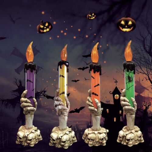 Plastic Skull Skeletal Hand Stand Halloween LED Candle Light Decor Party Lamp