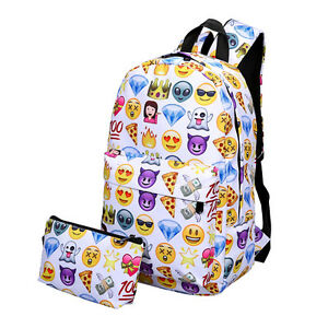 Women's Travel Backpack Emoji Shoulder Bag School Rucksack Handbag Satchel UK