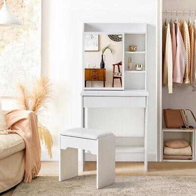 White Vanity Dressing Table Set Corner Makeup Desk Bedroom Furniture Mirror UK