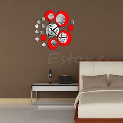 Circles Acrylic Mirror Style Wall Clock Removable Decal Art Sticker Decor Red