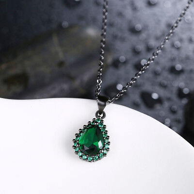 Sterling Silver Pear Shaped Created Emerald Gemstone Pendant Necklace 18
