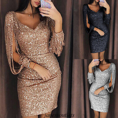 Summer Women Lady Bodycon Bling Sequin Tassel Evening Party Cocktail Gown Dress