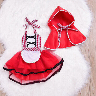 Baby Girls Little Red Riding Hood Halloween Party Fancy Dress Cloak Costume - Red Riding Hood Kostüm Baby