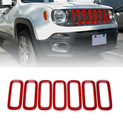 Xprite Front Grille Inserts Trim Covers Red for 2015-2017 Jeep Renegade