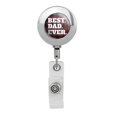Best Dad Ever Red Black Plaid Metal Chrome Badge ID Card