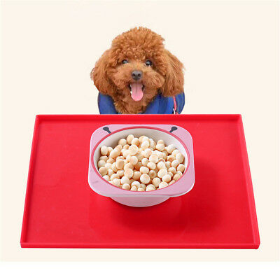 Cat Bowl Mat Dog Pet Feeding Food Dish Tray Wipe Clean Silicone Placemat Red