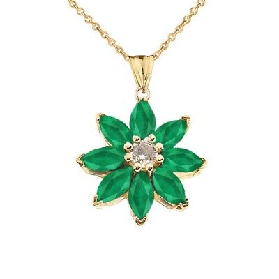 Solid Gold 10k/14K Emerald and Diamond Daisy  Pendant Necklace -