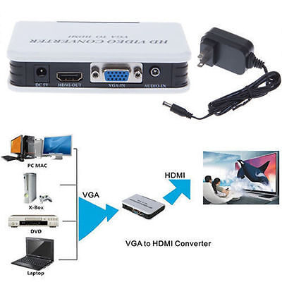 1080P Audio VGA to HDMI HD HDTV Video Converter Box Adapter for PC DVD covid 19 (Vga Hdmi Converter Box coronavirus)