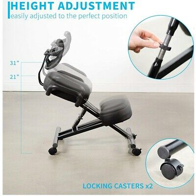 Kneeling Chair W Back Support Pain Relief Posture Correction Knee Stool Steel