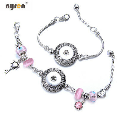 - Pink Beaded Snap Charms Bracelet Snap Jewelry Fit 18mm Snap Button SZ0516