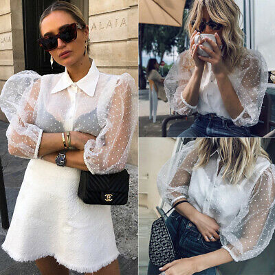 - Women Polka Dot Puff Sleeve Sheer Mesh Net Blouse T-shirt Crop Tops Shirts White