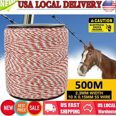 500m Roll Polywire Electric Fence Energiser Stainless Steel Poly Rope Insulator