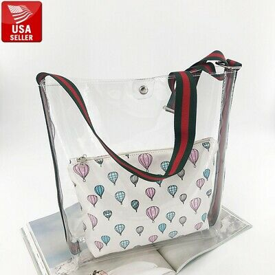 Beautiful Big Transparent PVC Clear Bag Tote Colorful Shoulder Strap and Insert Big Handbag Tote