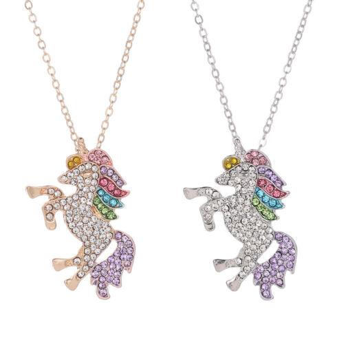 Fashion Women Rainbow Crystal Unicorn Charm Pendant Chain Ne