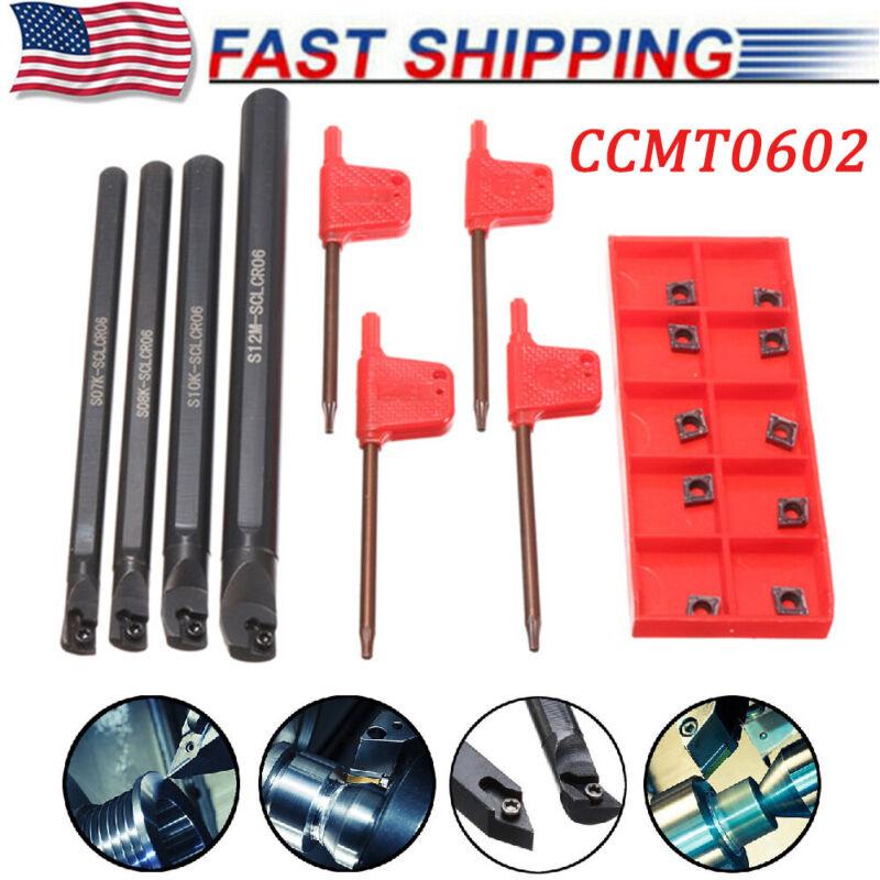 18PCS/Set Steel Boring Bar Lathe Turning Tool Holder + CCMT0602 Carbide Inserts