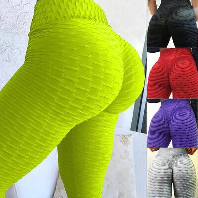 UK Womens Yoga Gym Anti-Cellulite Leggings Fitness Solid Butt Lift Elastic Pants