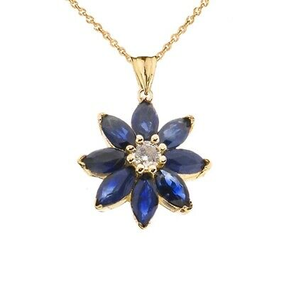 Solid Gold 10k/14K Genuine Sapphire and Diamond Daisy  Pendant Necklace -