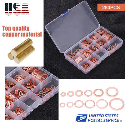 280pcs Kit 12 Sizes Assorted Solid Copper Crush Washers Seal Flat Ring W Case