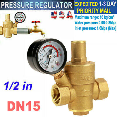 Dn15 Water Pressure Regulator Adjustable Npt 12 Brass Reducer Gauge Meter Tool