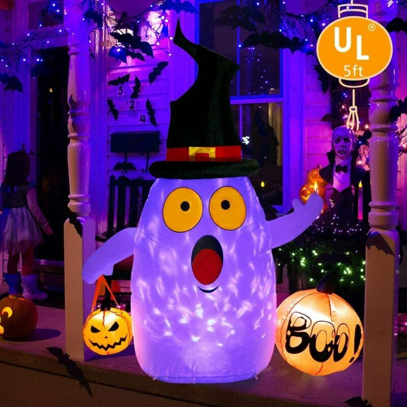 5FT Halloween Inflatable Pumpkin Ghost with LED Light Holiday Outdoor Yard Décor