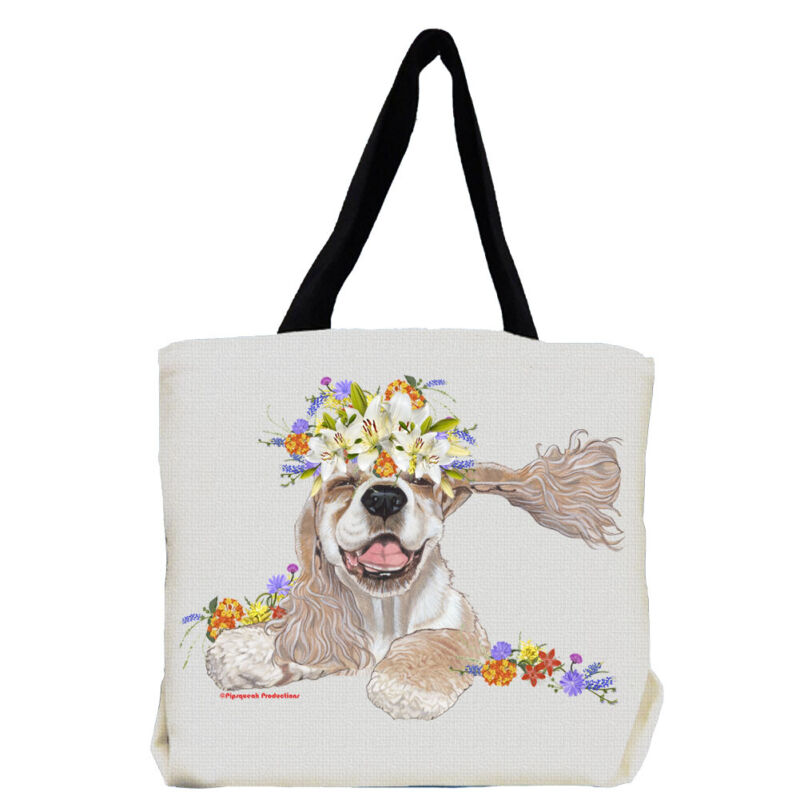 Cocker Spaniel Dog with Flowers Tote Bag