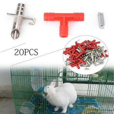 20pcs Automatic Nipple Water Bunny Feeder Drinker Waterer For Rabbit Rodents