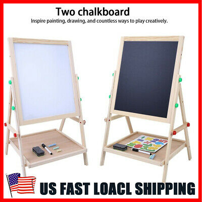 Wooden Kids Easel Art Children Whiteboard&Blackboard Stand Chalk Drawing - Kids Painting Easel