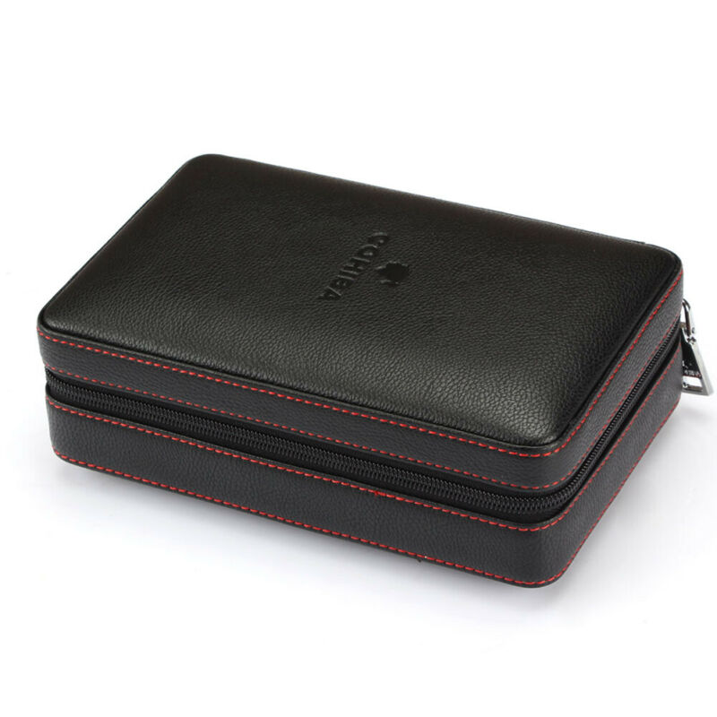 Cohiba Cigar Case Portable Cedar Wood Leather Travel Humidor Box 4 Cigars Holder