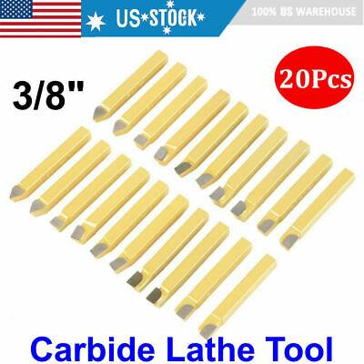 20pc 38 Carbide Tip Tipped Cutter Tool Bit Cutting Set For Cnc General Lathe