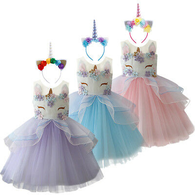 Girls Unicorn Tutu Fancy Party Dress up Cosplay Costume for Kid Birthday Outfits - Fancy Outfits For Girls