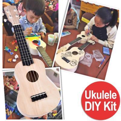 "21"" Ukulele DIY Kit Ukelele Hawaii Gitarre 4 Saiten für Kinder Musikinstrument"