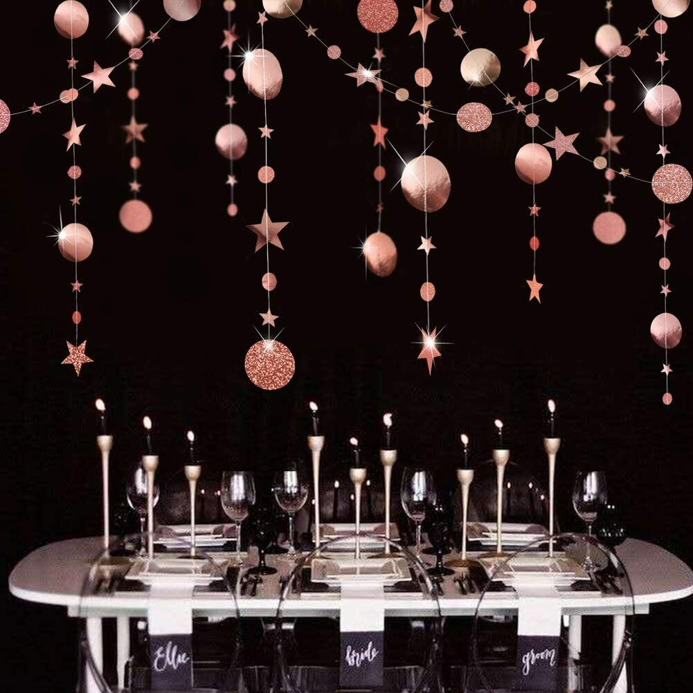 Rose Gold Party Decoration Circle Dot Garland Banner For Twinkle Starry Birthday - $11.99
