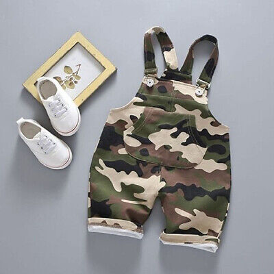 US Newborn Kids Baby Boys Camouflage Clothes Romper Overalls Summer Outfit 0-3Y