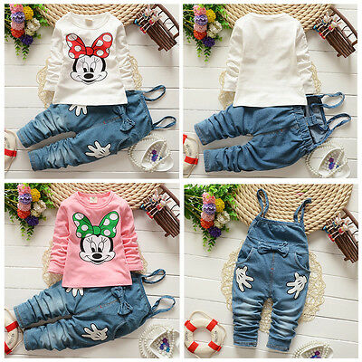(Kids Girls Baby Minnie Long Sleeve T-shirt+Denim Bib Pants Outfits Set Clothes)