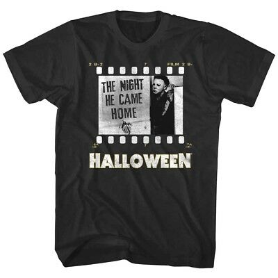 Halloween Horror Movie Film Strip Men's T Shirt The Night he Came Home - Vintage Halloween Home Movies