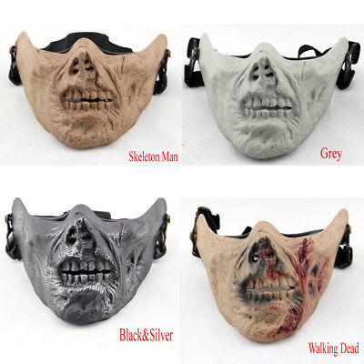 Tactical Zombie Skull Skeleton Half Face Mask Motorcycle Halloween Cosplay CS - Half Face Halloween Skull