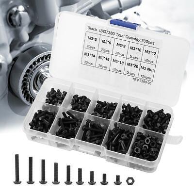300pcs M3 304 Metric Hex Socket Head Cap Screws Bolt Nut Assortment Set Fastener