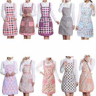 Vintage Country Style Frilly Aprons Check Floral Printed Aprons With Pockets