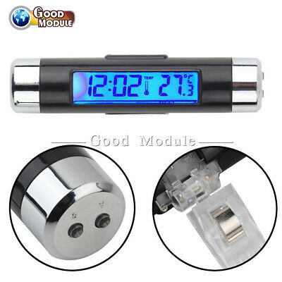2 In 1 Led Digital Car Clock Thermometer Temperature Auto Lcd Backlight Top