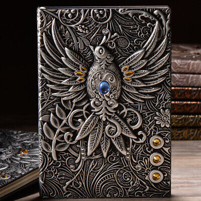 1pc Embossed Retro Notebook Journal Diary Sketchbook PU Leather Cover Blank -