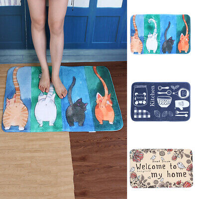 - Cartoon Cat Flannel Bathroom Non-Slip Door Entrance Floor Mat Rug Carpet Healthy