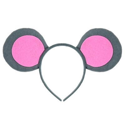 Mice Ears Costume (Pink & Gray Mouse-A-Like Ears Headband - Cute 3 Blind Mice Mouse Costume)