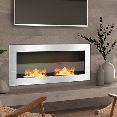 900x400x150mm Bio Ethanol Fireplace Wall Mounted/Inset Biofire Fire Burner Steel