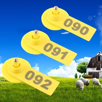 Farm Ranch One-piece Ear Tags Number 001-100 Goat Sheep Cattle Pig Livestock Hot