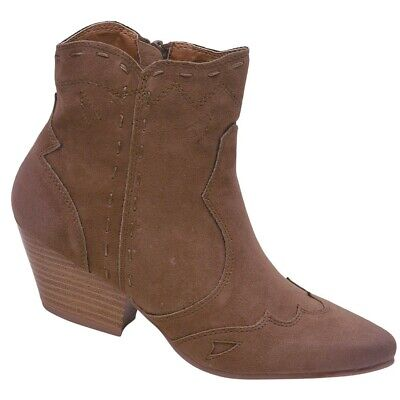 Qupid Adult Taupe Western Stitch Panel Side Zipper Ankle Boots 5.5-10 Women