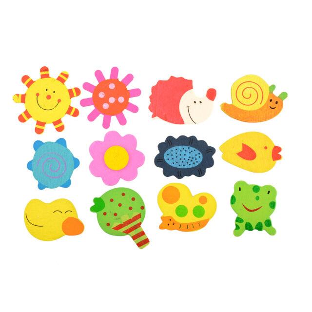 12pcs 1Set Colorful Kids Baby Wood Wooden Cartoon Fridge Magnet Educational Toy