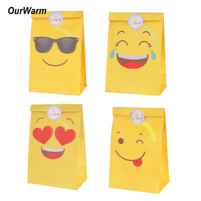 (12x Emoji Paper Party Bags Candy Bag Gift Box with Stickers Kids Birthday Favor)