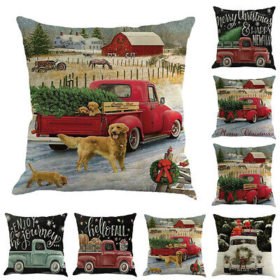 Christmas Car Truck Throw Pillow Case Cushion Cover Cafe Car Home Decor Welcome Home & Garden